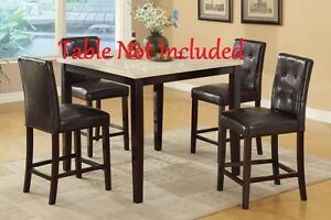 Comfort Dining Espresso Faux Leather Counter Height Chairs Wooden High Legs