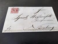 """Bayern Kreuzer-Brief 3 Kr. rot, Mi.-Nr. 9/oMR """"356"""" Nürnberg -> Weißenfels"""