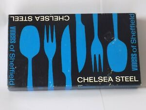 VINTAGE Boxed Viners of Sheffield Chelsea Steel 6 x SOUP Spoons   EXCELLENT