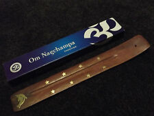 Om Nagchampa Natural Incense 15g Box & Dolphin Brass Inlaid Wooden Ash Catcher