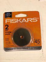 1 Fiskars 45mm Titanium Rotary Cutter Cutting Blades 2 IN THE pack