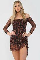 Leopard Print Mesh Ruched Bodycon Off Shoulder Mini Women Dress ( 6 - 16)