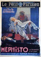 """""""MEPHISTO d'Arthur BERNEDE"""" Affiche originale entoilée Litho C. VAILLANT 1931"""