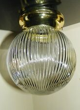 Polished Brass Finish Flush Mount Ceiling Lt Fixture w/Ribbed Globe/Shade