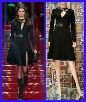 F/W 2015 L#19 VERSACE BLACK  DRESS with CUTOUTS and GOLD EMBROIDERY  38 - 2