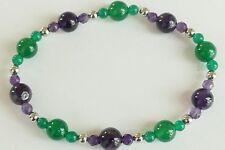 Amethyst and Green Onyx Gemstone, Vintage Style, Beaded Bracelet
