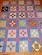 """Vintage 4 point Star Quilt top for repair 63"""" x 79"""" all hand stitched, Pretty!"""