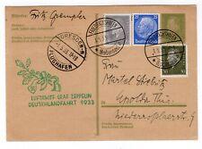 1933 Graf Zeppelin Flight on Postal Card Dresden Drop - Vf
