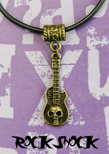 Skull Guitar Pendant Necklace Bronze Punk Rock Metal Men's Jewelry Accessories