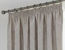 """66"""" x 72"""" LINDEN NATURAL CURTAINS FLORAL JACQUARD ETHNIC LINED GREY TAUPE SILVER"""