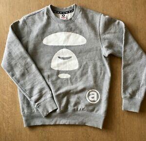 aape by a bathing ape grey logo crew neck sweatshirt size S   EC   near new