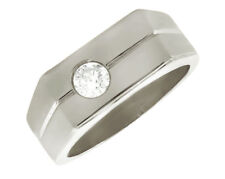 Genuine 0.5Ct Round Diamond Solitaire Mens Wedding Band Ring 950 Platinum