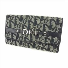 Dior Wallet Purse Trotter Black Silver Canvas Leather Woman Authentic Used T8664