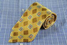 Ermenegildo Zegna Men's Tie Gold Blue & Red Geo Woven Silk Necktie 58 x 3.5