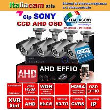 KIT SORVEGLIANZA DVR 4 Canali 1080N + 4 TELECAMERE Sony EFFIO AHD + HD + ALIM