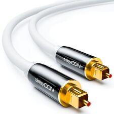 deleyCon 2m Optisches Digital Audio Kabel mit Metallstecker - Weiß