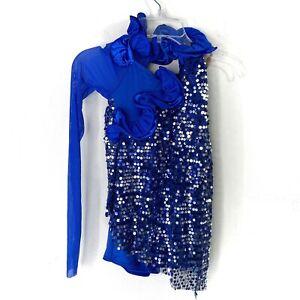 Weissman Girls Blue Sequin Dance Costume Biketard Sz MC Medium Child One Sleeve