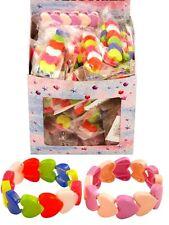 6 girl HEART BRACELETS elastic Party Bags filler toy fun kids plastic jewelery