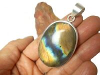 Large  LABRADORITE   Sterling  Silver  925  Gemstone  Pendant