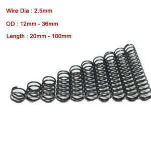 10 x Spring Steel Compression Pressure Spring Wire Dia 2.5mm OD 12-36mm Powerful