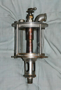 Antique Large Solid Brass/Glass Visible Drip Oiler Star Brass Mfg. Co. Steampunk