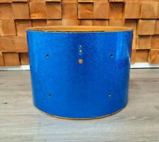 "Vintage Ludwig 1970s Drum Shell (10"" x 14"") w/ Blue Sparkle Wrap, no lugs"