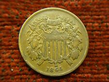 1864 U.S. TWO CENT PC. - LOADS OF DETAIL ON THIS OLD COPPER CIVIL WAR ERA PIECE