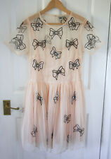 ASOS tulle dress bow applique size 14 - peach pink tutu prom party