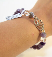 Elastic Cord Bracelet Cheveron Amethyst 8mm Beads/Stones Silver Lotus Charm