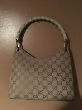 💯Authentic Vintage Gucci Tan  suede leather GG  bamboo Handle shoulder bag