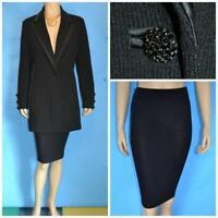 ST. JOHN EVENING BLACK Jacket & Skirt L 12 14 2pc Suit Rhinestones Button Satin