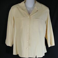 Nexx Norsdtrom 100% Silk Button Front Shirt Blouse Top Medium Sesame Beige EUC M