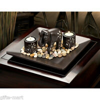 ebony silver inlay lucky raised trunk elephant Statue Candle holder light plate
