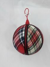 """Pier 1 Plaid Large Christmas Ball Ornaments 4"""" Light Weight"""