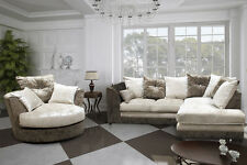 New Halo Brown and Mink Crushed Velvet Fabric Sofa Right Hand + Swivel Chair