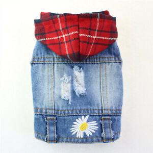 Pet Dog Denim Jacket Lattice Daisy Embroidered Jeans Vest Puppy Cat Hooded Coats