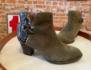 Vionic Olive Green Suede Naomi Snake-Print Water-Resistant Ankle Boots 8 New
