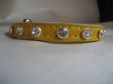 LEATHER DIAMENTE YELLOW CAT COLLAR