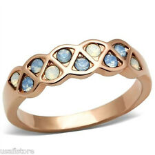 White & Light Blue Crystal Stone Rose Gold EP Ladies Ring