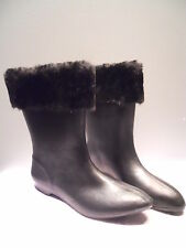 Nos Deadstock Vintage 1950s Black Winter Boots Snow Rubbers Galoshes Vegan Mod 6