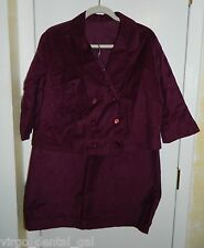 Vintage Purple Corduroy Double Breasted Skirt Suit Size Large