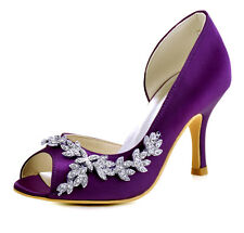 1542 Purple Peep Toe High Heel Wedding Party Dress Shoes Rhinestones Satin Pumps