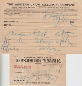 USA Western Union Telegram 1912 With Envelope U.Travelers Cable Code Book