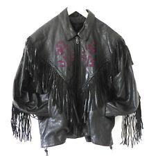 Vtg Motorcycle/Biker Jacket Black Leather Fringe Pulple Rose Trim Size 5XL