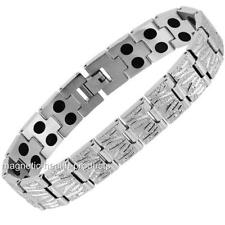 MENS STAINLESS STEEL MAGNETIC BRACELET DOUBLE MAGNETS ARTHRITIS PAIN RELIEF 30