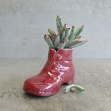 Vintage Australian Pottery Boot Shoe Signed RF Possibly Raynor Ford Red Small