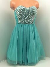 As U Wish 100% Polyester Aqua W/Rhinestones Lined Formal Dress, Size  3