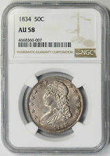 1834 Capped Bust Half Dollar Silver 50C AU 58 NGC