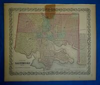 Vintage 1859 Colton's Atlas Map ~ BALTIMORE, MARYLAND ~ Old Antique & Authentic