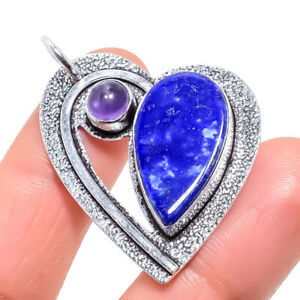 "Lapis Lazuli, Amethyst Gemstone Handmade Silver Jewelry Pendant 1.8"" PRJ878"